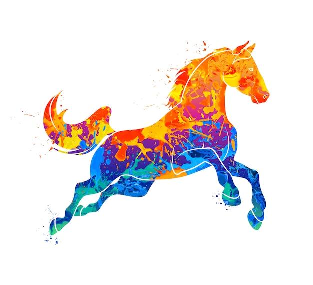 Абстрактная скачущая лошадь от всплеска акварелей. иллюстрация красок. Premium векторы