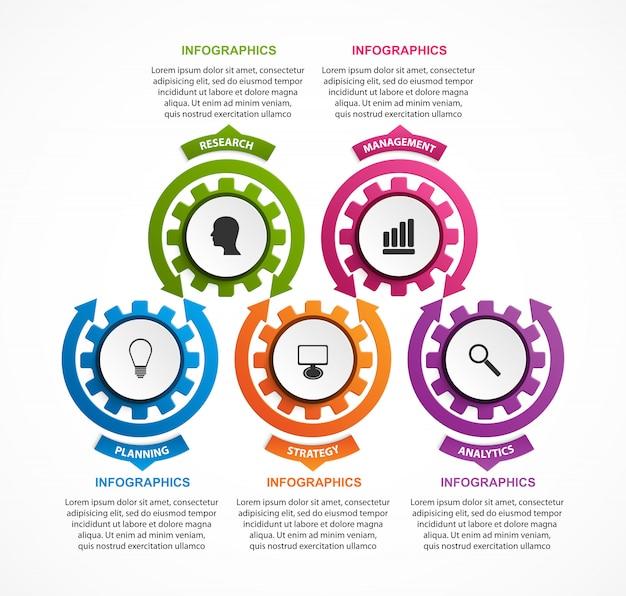 Abstract gears infographic。デザイン要素。 Premiumベクター