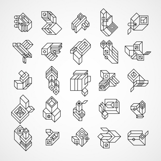 Abstract And Geometric 3d Logos Set Made With Lines Vector