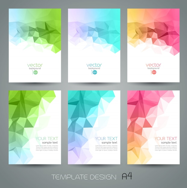 Abstract geometric background set with triangles Premium Vector