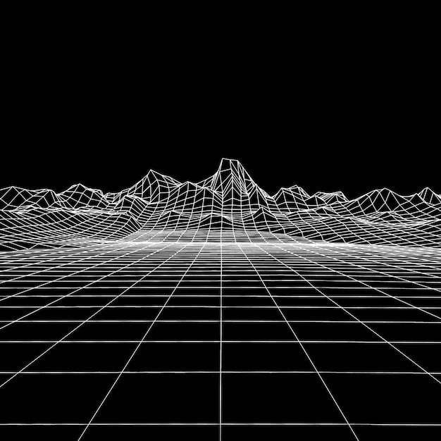 Abstract geometric background with digital mountain landscape. Premium Vector