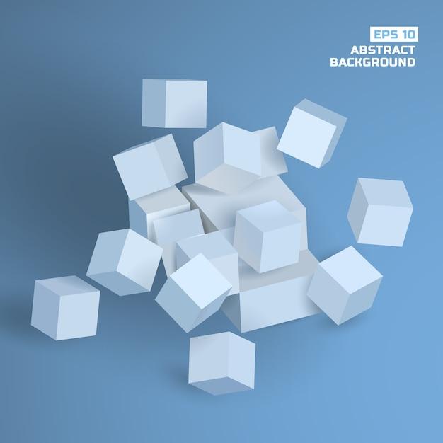 Абстрактный геометрический фон с серыми 3d кубиками Бесплатные векторы