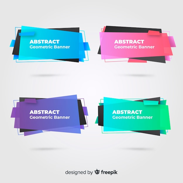 Abstract geometric banner collectio Free Vector