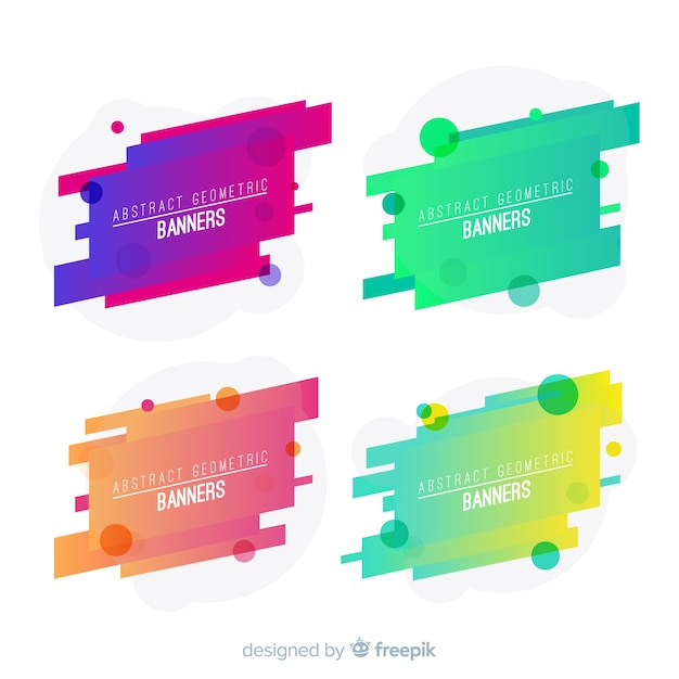Abstract geometric banner collection Free Vector