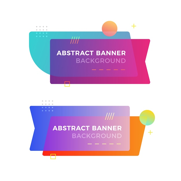 Abstract geometric banner in memphis design style Premium Vector