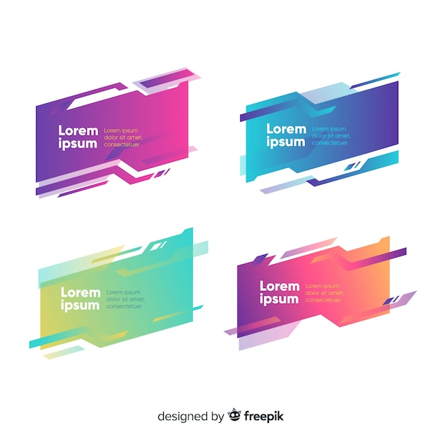 Abstract geometric banner set Free Vector