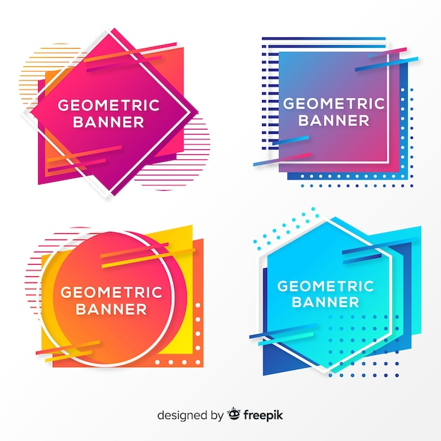Abstract geometric banners Free Vector