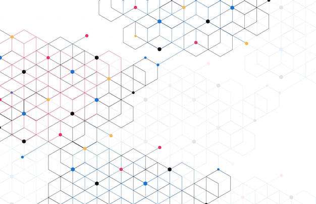 Abstract geometric boxes background dot line connection Premium Vector