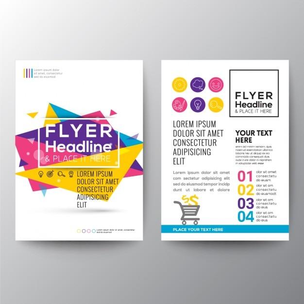 Абстрактные геометрические брошюры с треугольников в полном цвете Бесплатные векторы