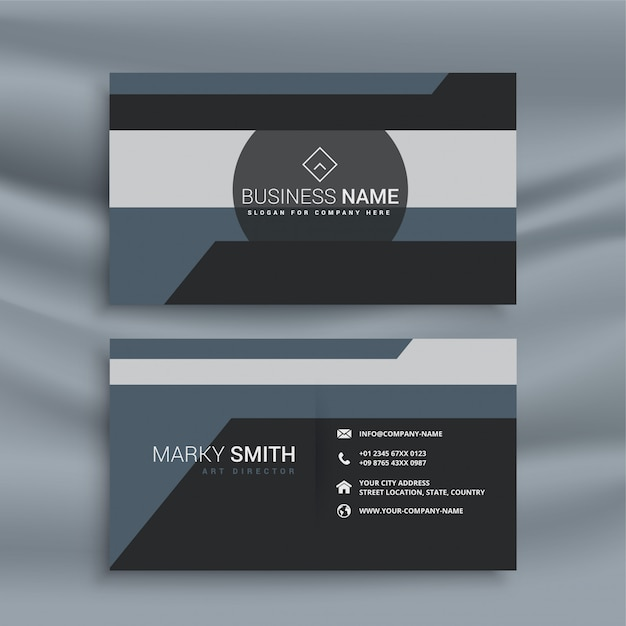 Abstract geometric business card in dark theme Free Vector