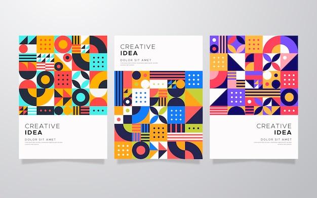 抽象的な幾何学的なビジネスカバーコレクション 無料ベクター