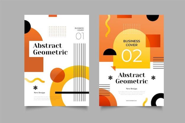 Abstract geometric business cover collection Free Vector