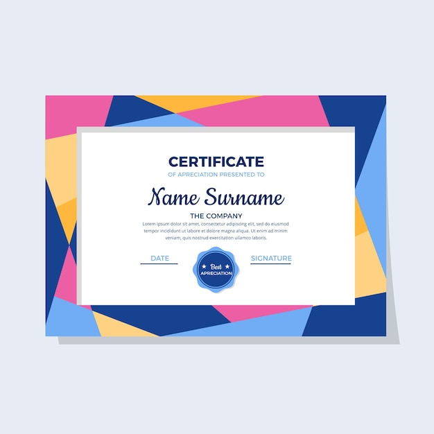 Abstract geometric certificate concept Free Vector