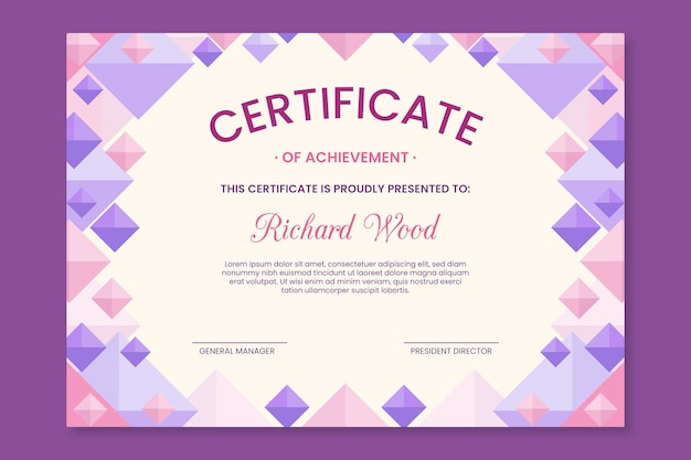 Abstract geometric certificate template concept Free Vector