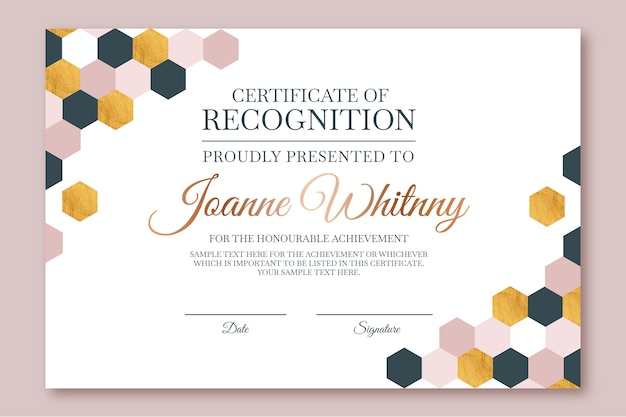 Abstract geometric certificate template with hexagonal shapes Free Vector