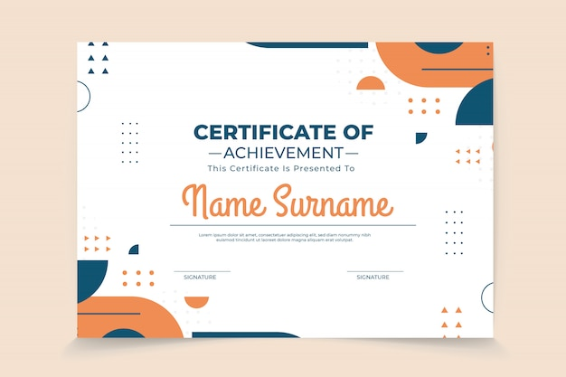 Abstract geometric certificate template Premium Vector