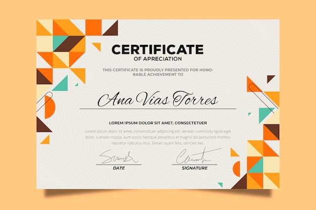 Template sertifikat geometris abstrak Vektor Gratis