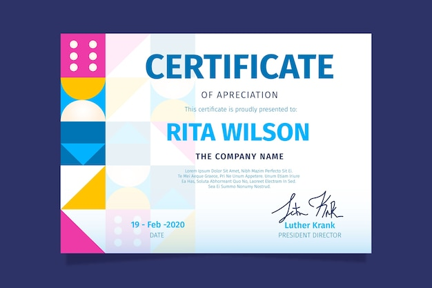 Abstract geometric certificate theme for template Free Vector