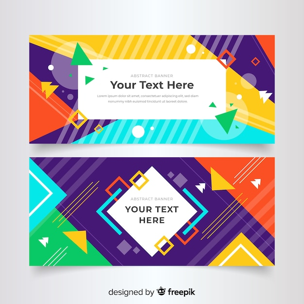 Abstract geometric colorful banner template Free Vector