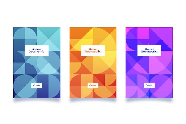 抽象的な幾何学的なカバーコレクションデザイン 無料ベクター