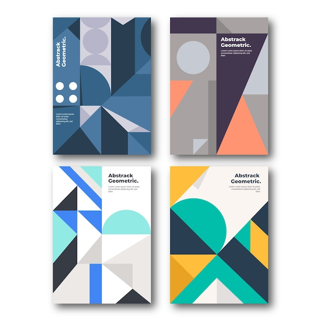 抽象的な幾何学的なカバーコレクション 無料ベクター