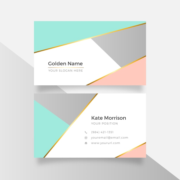 Abstract geometric elegant golden business card Free Vector