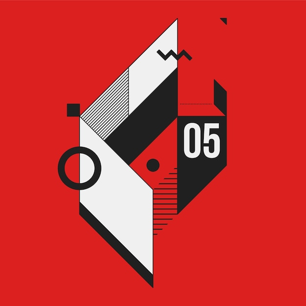 Abstract geometric element on red background. Useful as CD cover, print or poster. Premium Vector