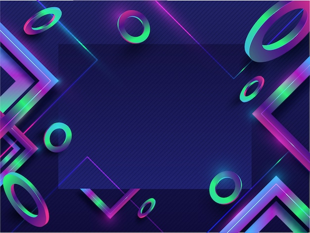 Abstract geometric elements decorated on blue seamless striped pattern background with space for your message. Premium Vector