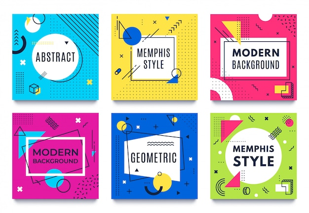 Abstract geometric frame. memphis square cards, funky colourful stripes and dots shapes and quotes text frames background vector set Premium Vector