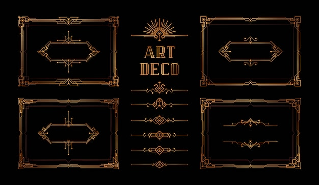 Abstract geometric frame set, the great gatsby vector Premium Vector