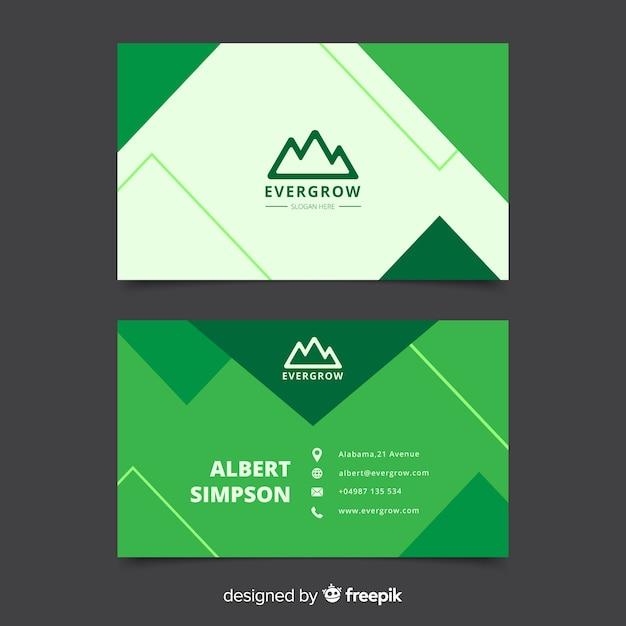 抽象的な幾何学的な緑の名刺テンプレート 無料ベクター