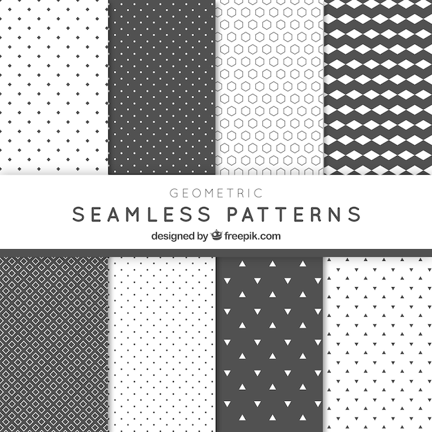Abstract geometric grey patterns pack Free Vector