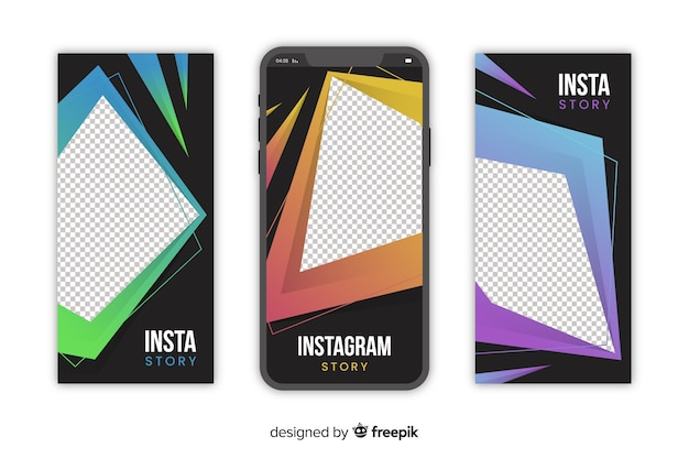 Abstract geometric instagram stories template Free Vector