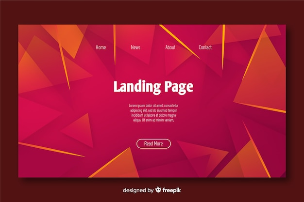 Abstract geometric landing page template Free Vector