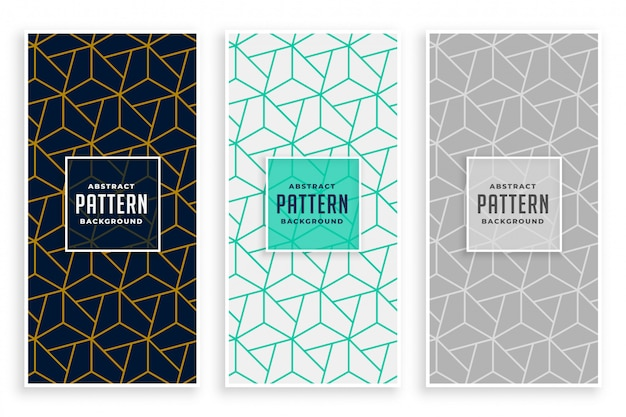 Abstract geometric lines pattern banners set Free Vector