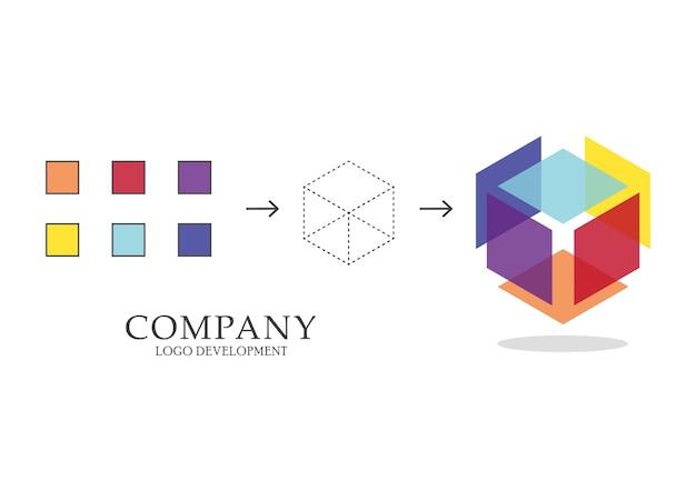 抽象的な幾何学的ロゴの開発 Premiumベクター