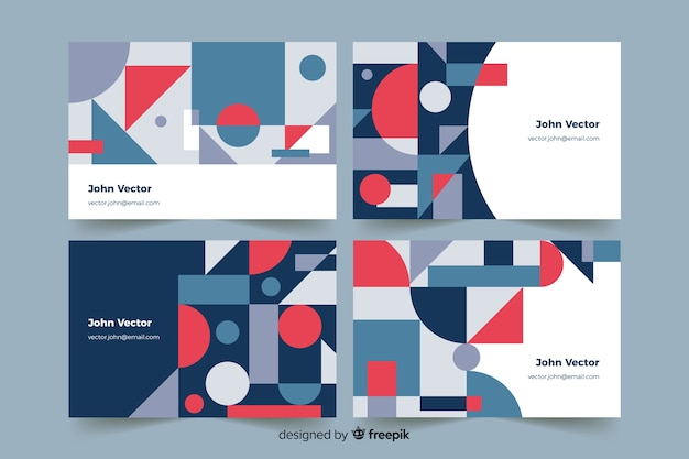 Abstract geometric models business card Free Vector