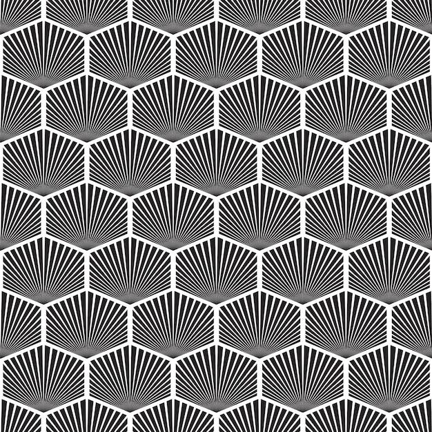 モノクロスタイルの図で六角形のオブジェクトを繰り返す抽象的な幾何学的なモザイクのシームレスなパターン Premiumベクター