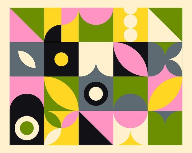 바우 하우스 스타일에 추상적 인 기하학적 벽화 화려한 배경입니다. 프리미엄 벡터