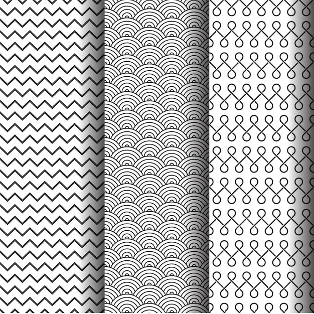 Abstract geometric patterns set, Black and white seamless textures or background.  Free Vector