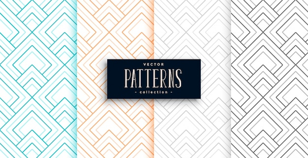 Abstract geometric patterns set in four colors Free Vector