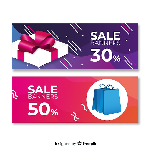 Abstract geometric sale banners with realistic elements Free Vector