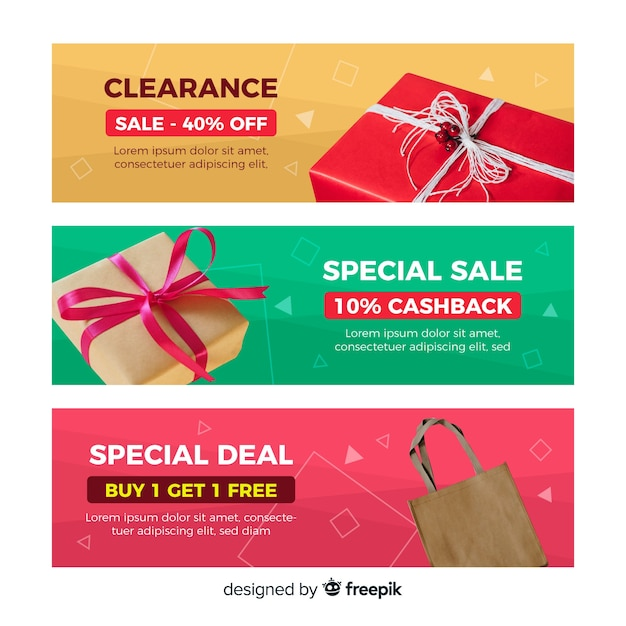 Abstract geometric sales banners with realistic elements Free Vector