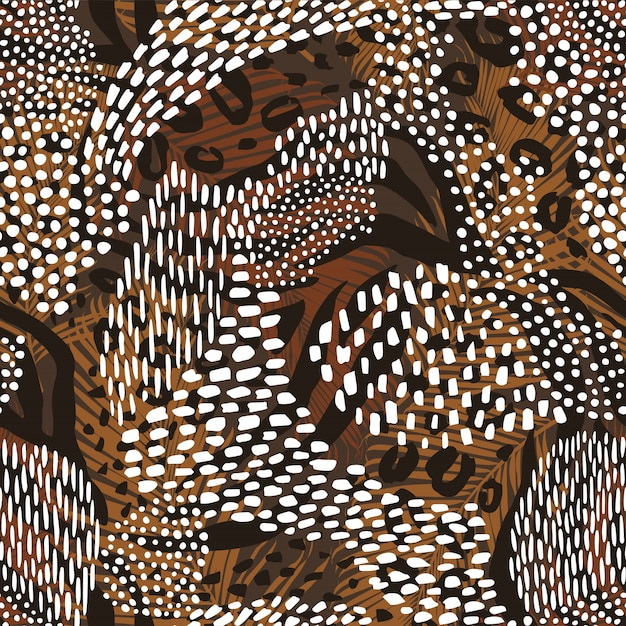 Abstract geometric seamless pattern with animal print. trendy hand drawn textures. Premium Vector