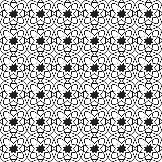 원과 반복 구조의 간단한 꽃으로 추상적 인 기하학적 원활한 패턴 무료 벡터