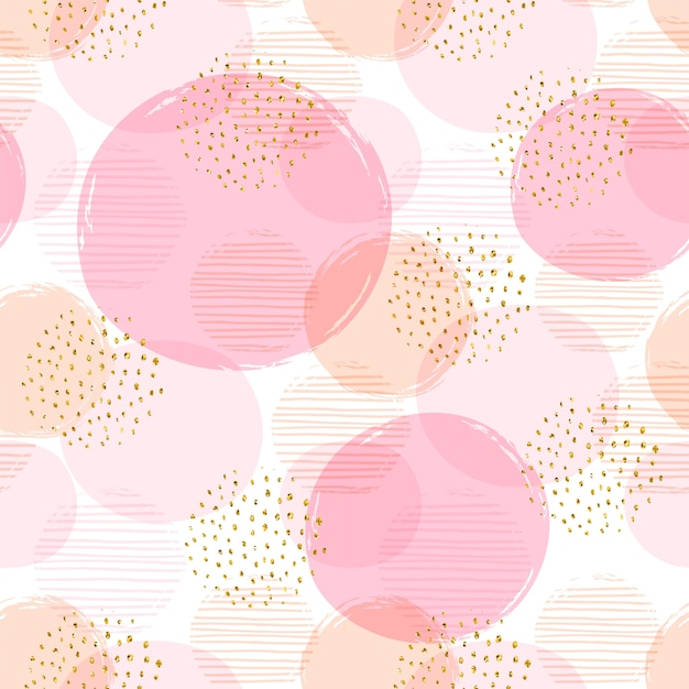 Abstract geometric seamless pattern with circles. Premium Vector