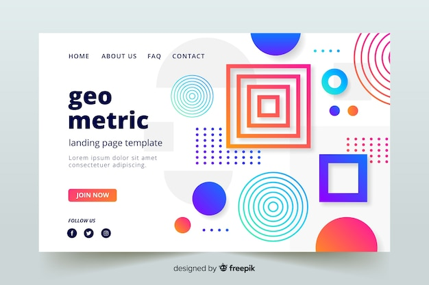 Abstract geometric shape landing page template Free Vector