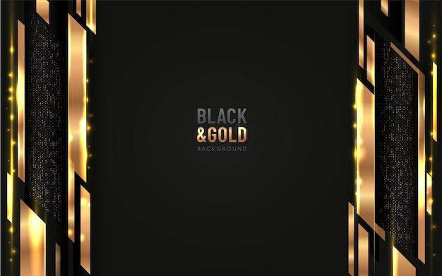 キラキラと垂直の金色の線がドットの金色の組み合わせで輝く黒い背景に重なる抽象的な幾何学的形状。 Premiumベクター