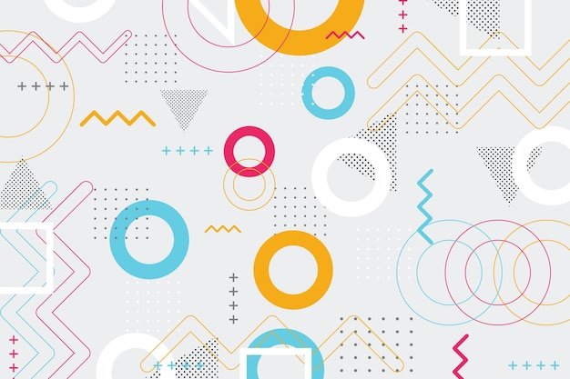 Abstract geometric shapes background in memphis style Free Vector