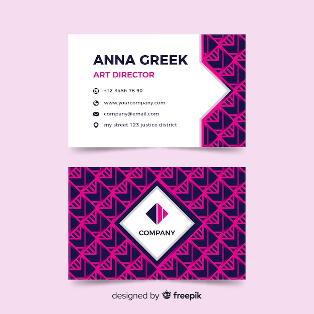 Abstract geometric shapes business card Free Vector